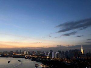 View sông và Quận 1 từ Đảo Kim Cương